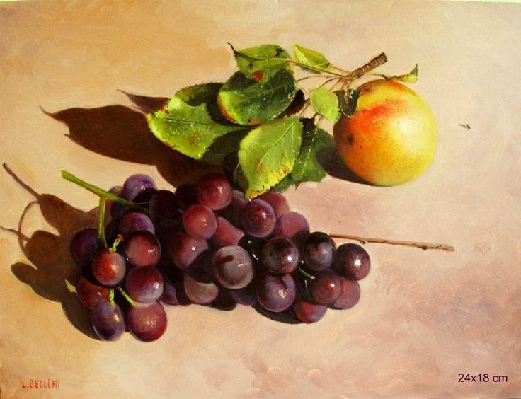 AUTORE : Luigi Beolchi  TITOLO : Uva rossa e mela TECNICA : Olio su tavola MISURE : 18x24 cm