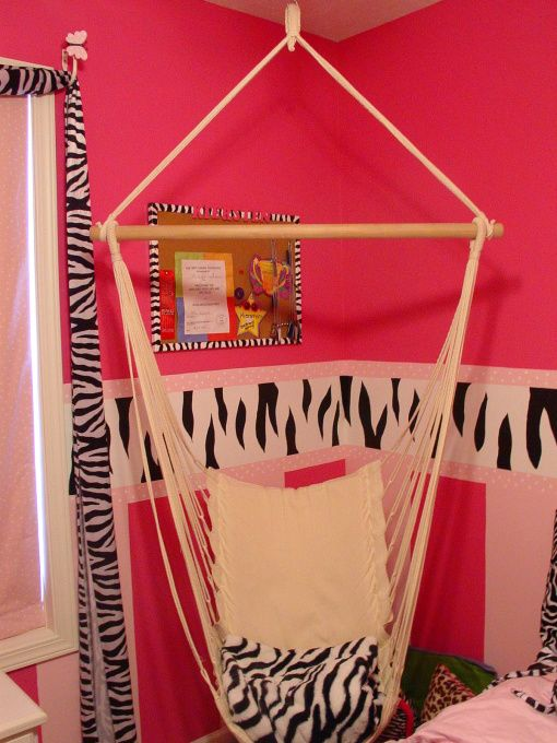 tween re-do, My daughter had lots of pink polka dot in her room but wanted a zebra striped room that wasn't as babyish.  This is what I came up with., hammock hung in corner gives a unique seating space, Girls' Rooms Design