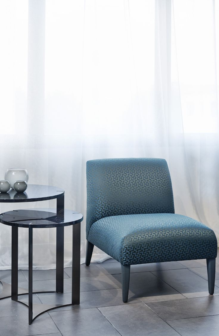 Giulietta armchair and Tolomeo side tables by Fendi Casa, 2014 Collection, Luxury Living Group