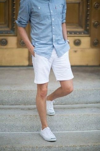 Men's Light Blue Chambray Long Sleeve Shirt, White Shorts, White Canvas Low Top Sneakers