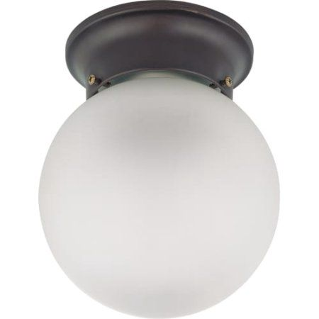Nuvo Lighting 63344   1 Light (Twist And Lock Base) 6 Inch Flush Mount  Mahogany Bronze Finish With Frosted White Glass Ceiling Light Fixture  (60 3344) ...