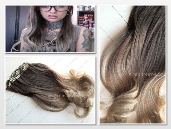 Ash Blonde Ombre Hair Ombre Clip In Hair by NinasCreativeCouture