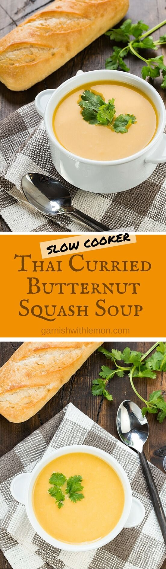 Freeze individual portions of this simple Slow Cooker Thai Curried Butternut Squash Soup, and you'll always have something tasty to bring for lunch. ~ http://www.garnishwithlemon.com