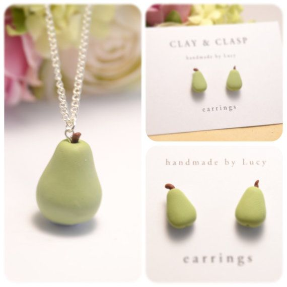 Pear Necklace and Earrings Matching Set -  beautiful handmade polymer clay jewellery by Clay & Clasp