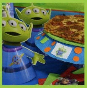 Woody's campfire franks, Buzz's Intergalactic Burgers, pizza Planet pizza, Alien Jelly (Green Jello), Buzz's Space Raider Crisps (rice krispie treats)  Great Party games, too