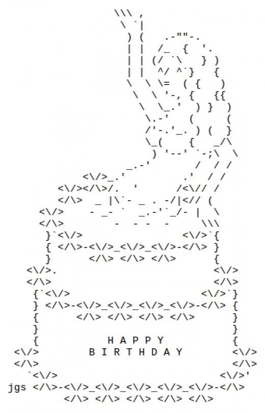 Ascii Art Birthday Cake Iphone : Happy Birthday ASCII Text Art Sexy, Birthday wishes and ...