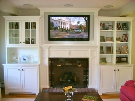 tv above fireplace in custom cabinet with in ceiling speakers home theater pinterest. Black Bedroom Furniture Sets. Home Design Ideas