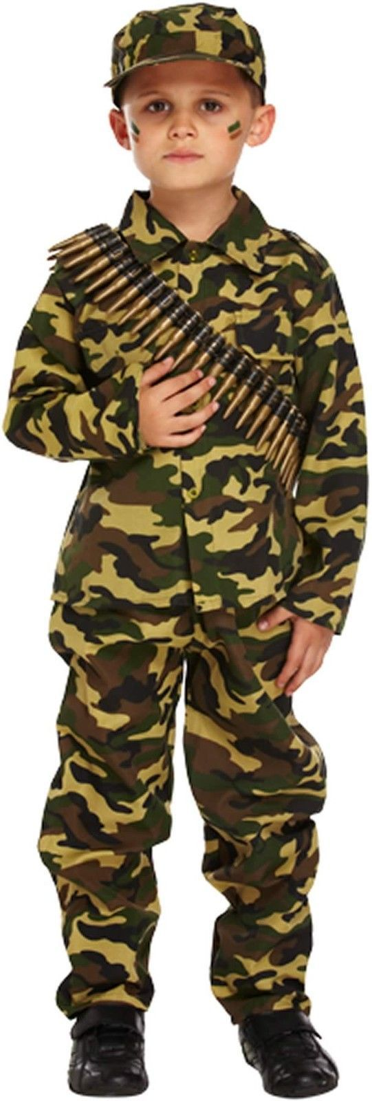 Boys Army Soldier Camouflage Fancy Dress Up Costume Children Book Week