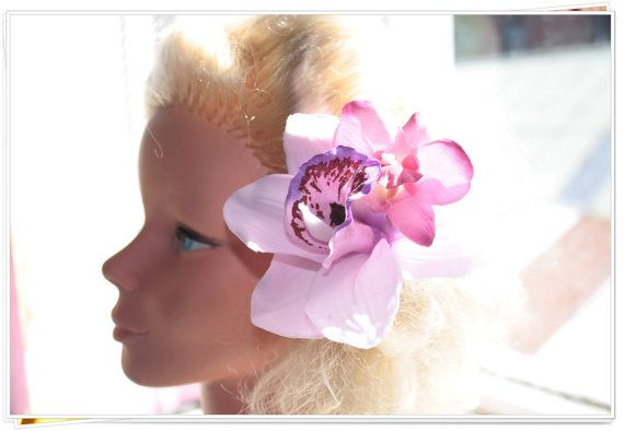 Rockabilly Hair flower//Lovely Lilac Cymbidium Orchid //Pin up//Burlesque