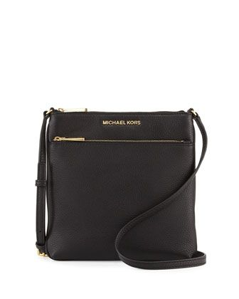 Riley+Small+Leather+Crossbody+Bag,+Black+by+MICHAEL+Michael+Kors+at+Neiman+Marcus.