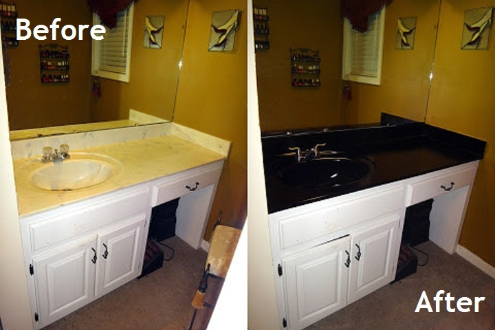 Paint cultured marble sinks & countertops with a waterproof high gloss primer and paint in one... in a spray!! Sand, paint, & add 3 coats of polyurethane. Total cost about  $55