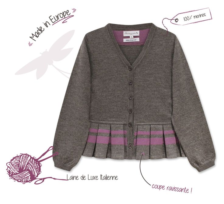 """Cardigans made in Europe, laine de luxe Italienne """"Baruffa"""" Cardigan Vuzette http://www.bleucommegris.com/fr/product/fille/maille/"""