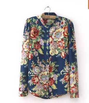 Fun Orange S-XL women Vintage full Floral Print Long Sleeve Blouse Shirts lady fashion flower chiffon Shirt blouse top