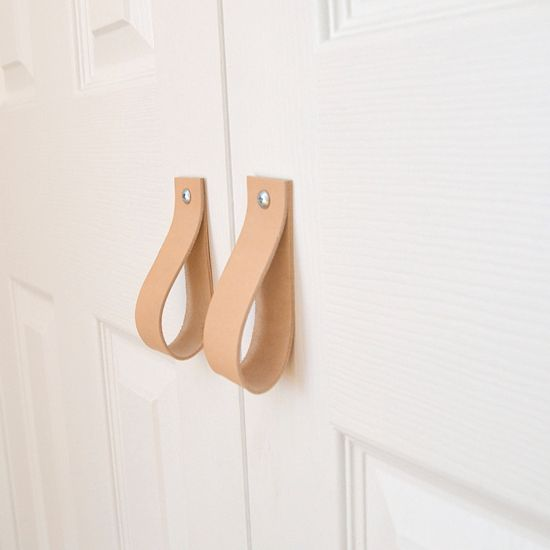 Give Closet Doors A Different Look With Leather Pulls. Leather Stripes  Screwed To The Door