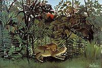 Henri Rousseau — Le lion, ayant faim, se jette sur l'antilope, 1898-1905.