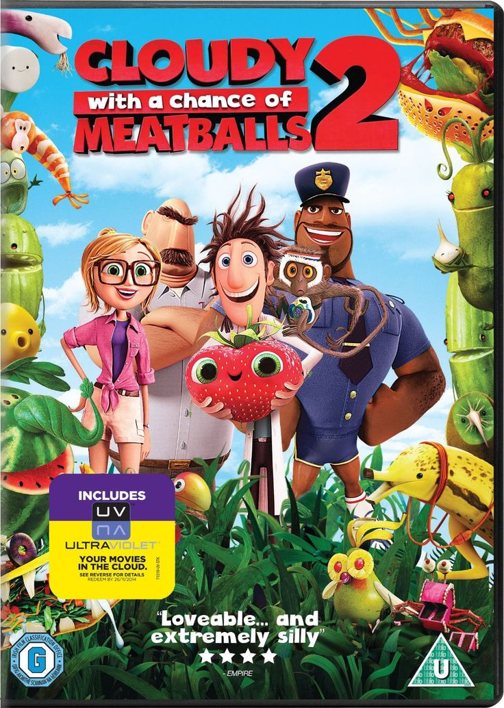 """Cloudy with a Chance of Meatballs 2: Revenge of the Leftovers (2013) directed by Cody Cameron and Kris Pearn, based on the book by Judi Barrett, starring Bill Hader, Anna Faris, Neil Patrick Harris and Andy Samberg. """"Flint Lockwood now works at The Live Corp Company for his idol Chester V. But he's forced to leave his post when he learns that his most infamous machine is still operational and is churning out menacing food-animal hybrids."""""""