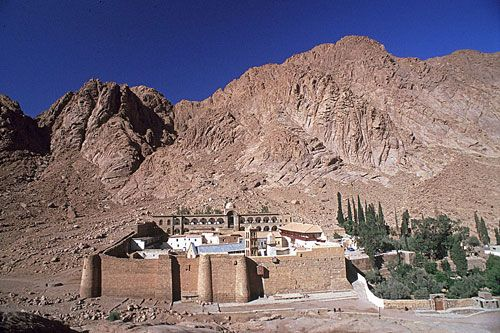 Mt. Sinai in the Sinai peninsula, the peak where Moses received the Ten Commandments--The Monastery at the base of the mountain is St. Catherine's.