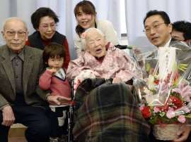 Misao Okawa is the world's oldest person at 117 http://jacybrean.blogspot.co.uk/2013/04/fountain-of-youth-could-humans-live.html