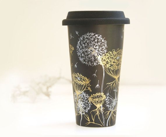 Black Ceramic Eco-Friendly Travel Mug - Gold Queen Anne's Lace and Silver Dandelions