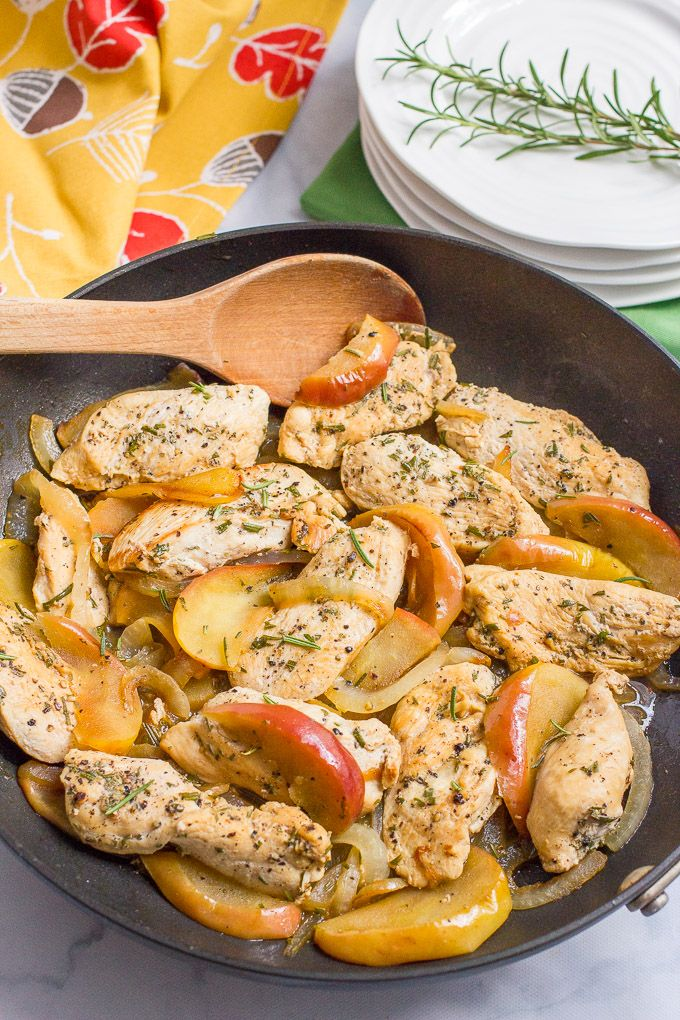 One-skillet sautéed chicken and apples with rosemary is an easy weeknight dinner recipe that's perfect for fall!