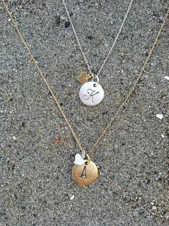 Monogram Necklace, Heart Initial Necklace, Matte Silver and Gold