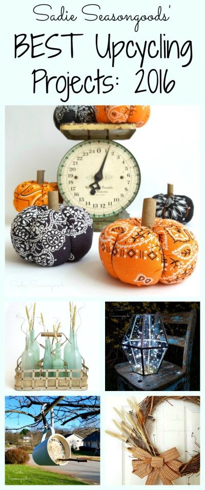Sadie Seasongoods has brought you unique, easy-to-make, amazing repurposing and upcycling projects all year long. And these are the Top 10 BEST and MOST POPULAR repurposed and upcycled DIY craft projects from 2016. From sea glass bottles to cutter quilts, and bandana pumpkins, firefly lamps, and coffee mug suet feeders. Find her most loved projects here, all in one blog post! #SadieSeasongoods / www.sadieseasongoods.com
