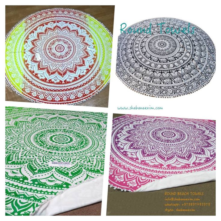 Ombre design printed multi color cotton round towels and beach throws yoga mats