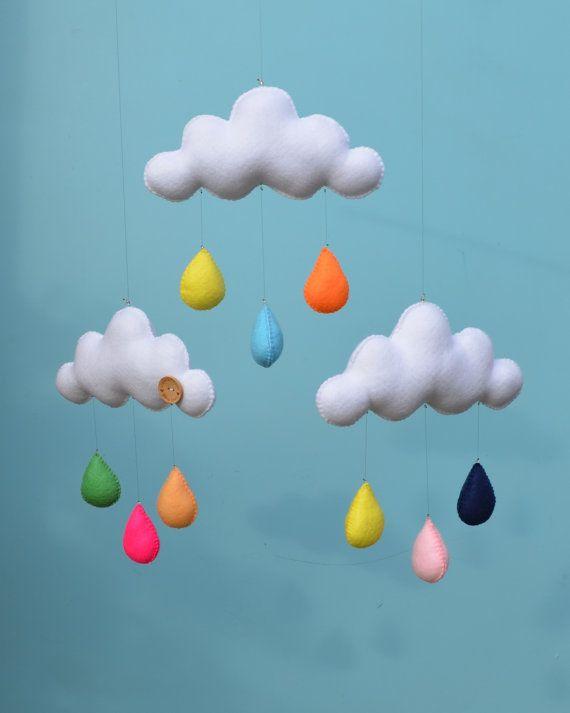 Decoración de guardería infantil nube fieltro por MilbotandChooky