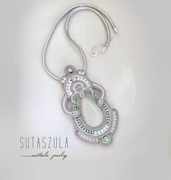 Gray pastel necklace soutache OOAK statement necklace Soutache