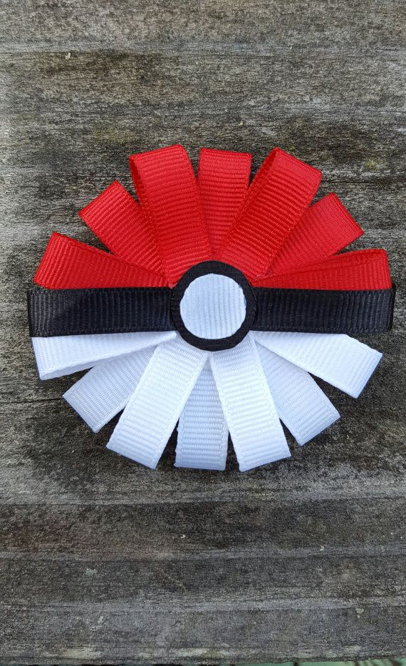 Pokemon Pokeball Ribbon Sculpture Hair Clip by LauraKnowsBows