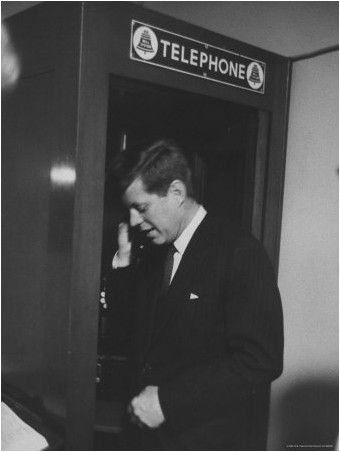 Stan Wayman - Senator John F. Kennedy Talking on the Phone During the Primary Election Night