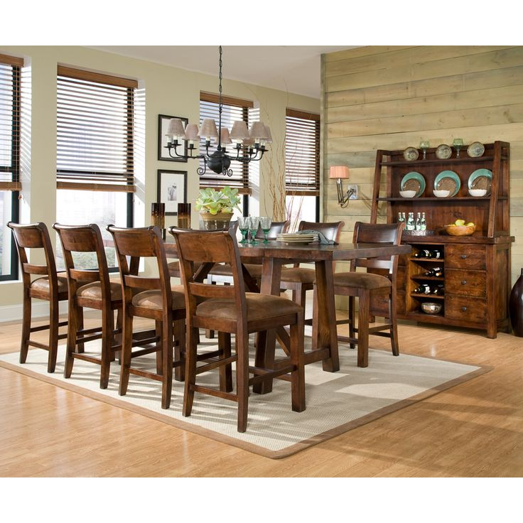 Wonderful Legacy Classic Furniture Woodland Ridge Trestle Pub Table With Eight Pub  Chairs