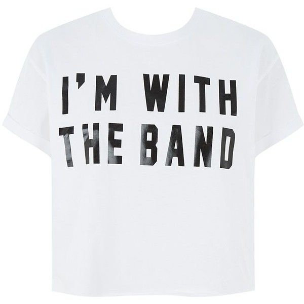 White I'm With The Band Roll Sleeve T-Shirt found on Polyvore