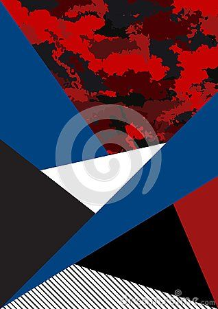 Picture poster banner futuristic illustration. Background of geometric shapes and textures. Camouflage red black