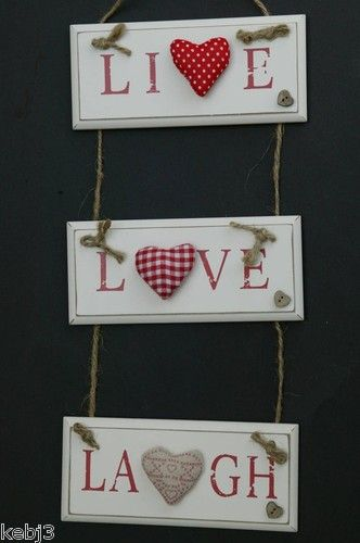 "Wooden Plaque ""LIVE LOVE LAUGH"" gingham & hessian hearts also ""HOME SWEET HOME"""