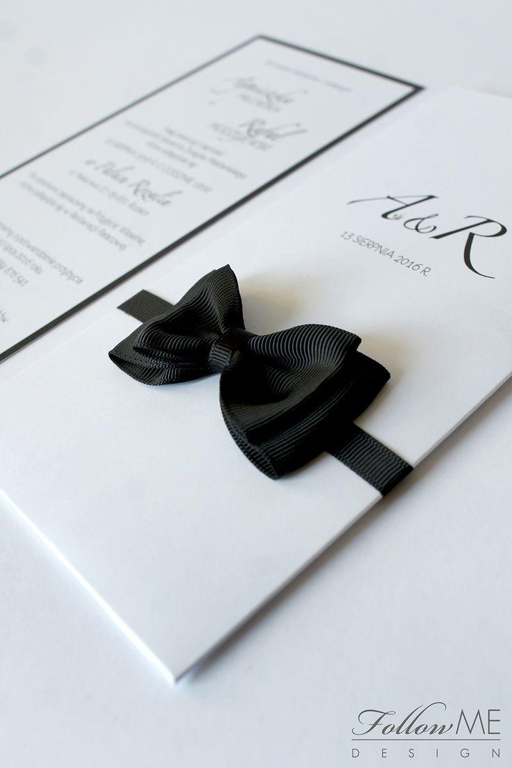 Białe zaproszenia ślubne z muszką / Dekoracje ślubne inspirowane Canel No. 5 od FollowMe DESIGN /White Wedding Invitation With a Bow Tie, Chanel No.5 Wedding Decorations & Details by FollowMe DESIGN