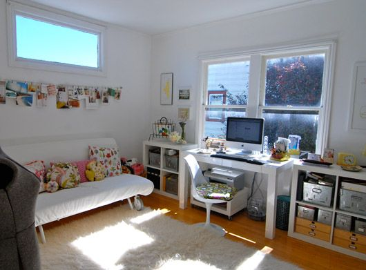 The use of Ikea's sofa bed and cupboards makes this achievable, practical and inspirational for me.