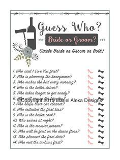 Vineyard Winery Theme - Guess Who Bride or Groom He Said She Said Bridal Shower Game