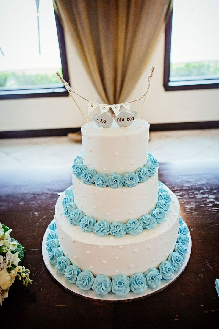 Publix Wedding Cake in powder blue and white Love Bird Cake toppers with Love banner from https://www.etsy.com/shop/SkyeArt