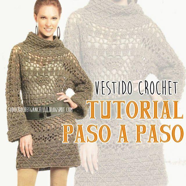 Como tejer un vestido crochet minifalda de mangas largas y cuello volcado