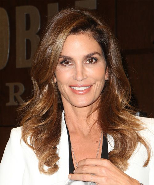 Cindy Crawford Long Wavy Casual Hairstyle - Dark Brunette
