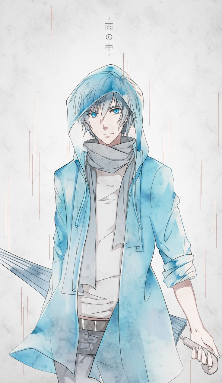 Creds @ 風眠 on Pixiv | KAITO |  Translation: In the rain