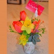 Mini ghiveci cu flori de primavara