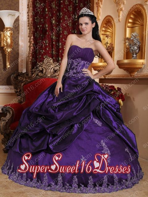 Dark Purple Ball Gown Sweetheart Floor-length Taffeta Appliques Simple Sweet Sixteen Dresses