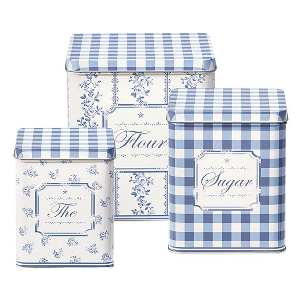 GreenGate Tin Boxes Square Audrey Indigo Set Of 3 Pieces