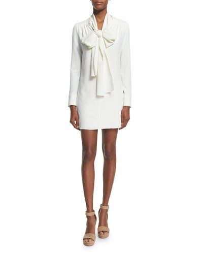 See+by+Chloe+Long+Sleeve+Tie+Neck+Mini+Dress+White+|+Clothing