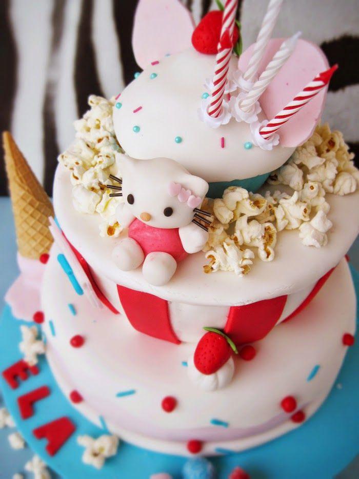 Popcorn, lody, cupcake i tort Hello Kitty