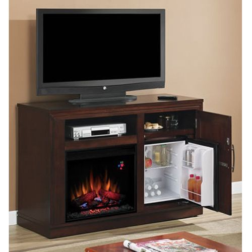 Electric Fireplace Unit with Built-In Mini-Fridge Console - Perfect for the basement!