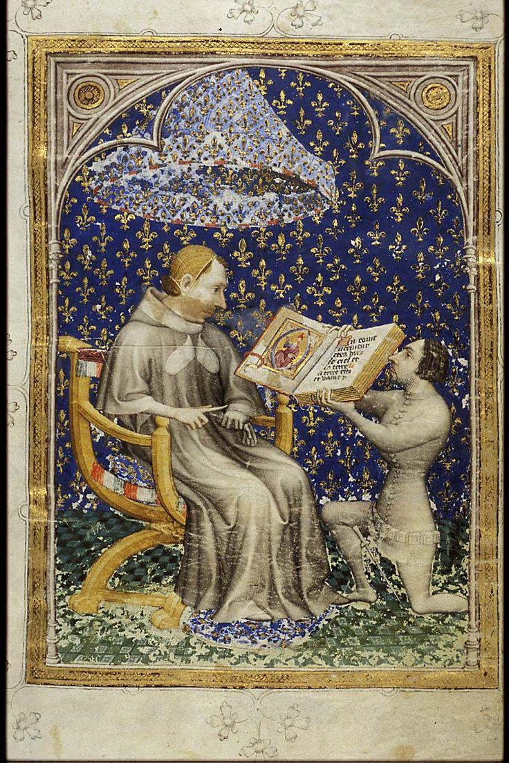 Jean de Bondol : Jean de Vaudetar offre son œuvre, la Bible historiale au roi Charles le Sage (1371—1372) En comparaison avec le style roman, l'enluminure gothique se distingue par un style de personnages souples et en action, ainsi que des plis de vêtements fluides. Cette tendance reste valable pour toute la période gothique et trouve son sommet dans le « gothique international »