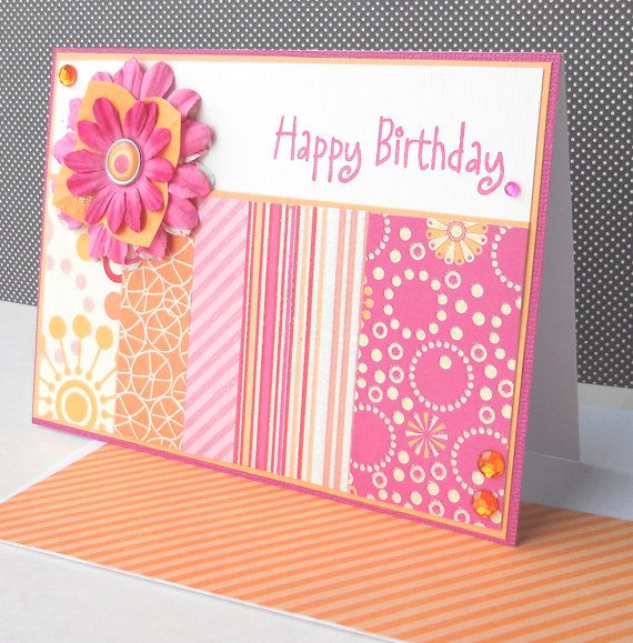 Birthday Card with Matching Embellished Envelope - Sherbet Bloom